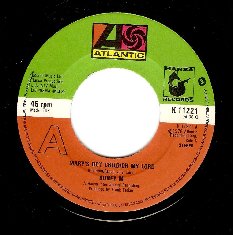 BONEY M Mary's Boy Child/Oh My Lord Vinyl Record 7 Inch Atlantic 1978